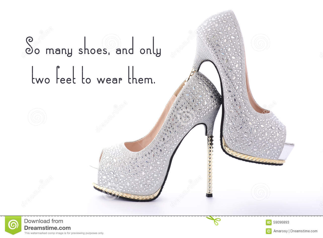 High Heel Rhinestone Shoes With Funny Saying Text Stock Image Image Of Glamour Funny 59096893