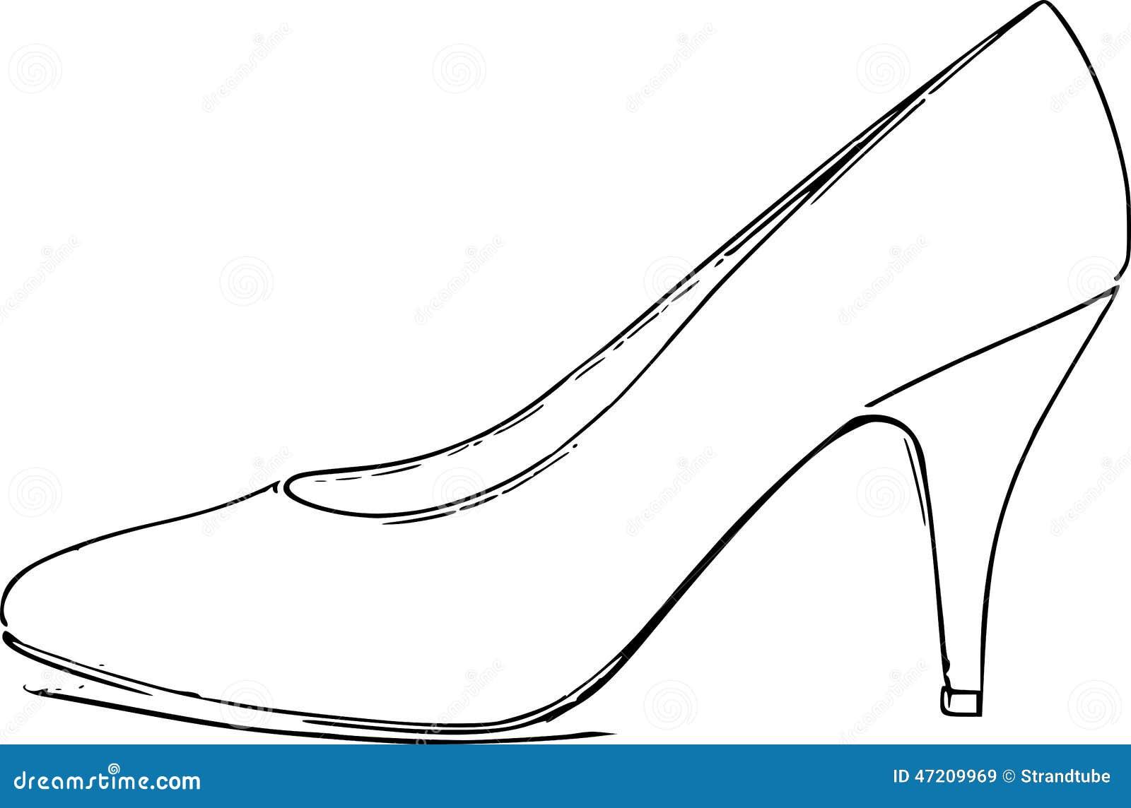 Line Art Shoes : Royalty free stock images high heel shoe line art sketch