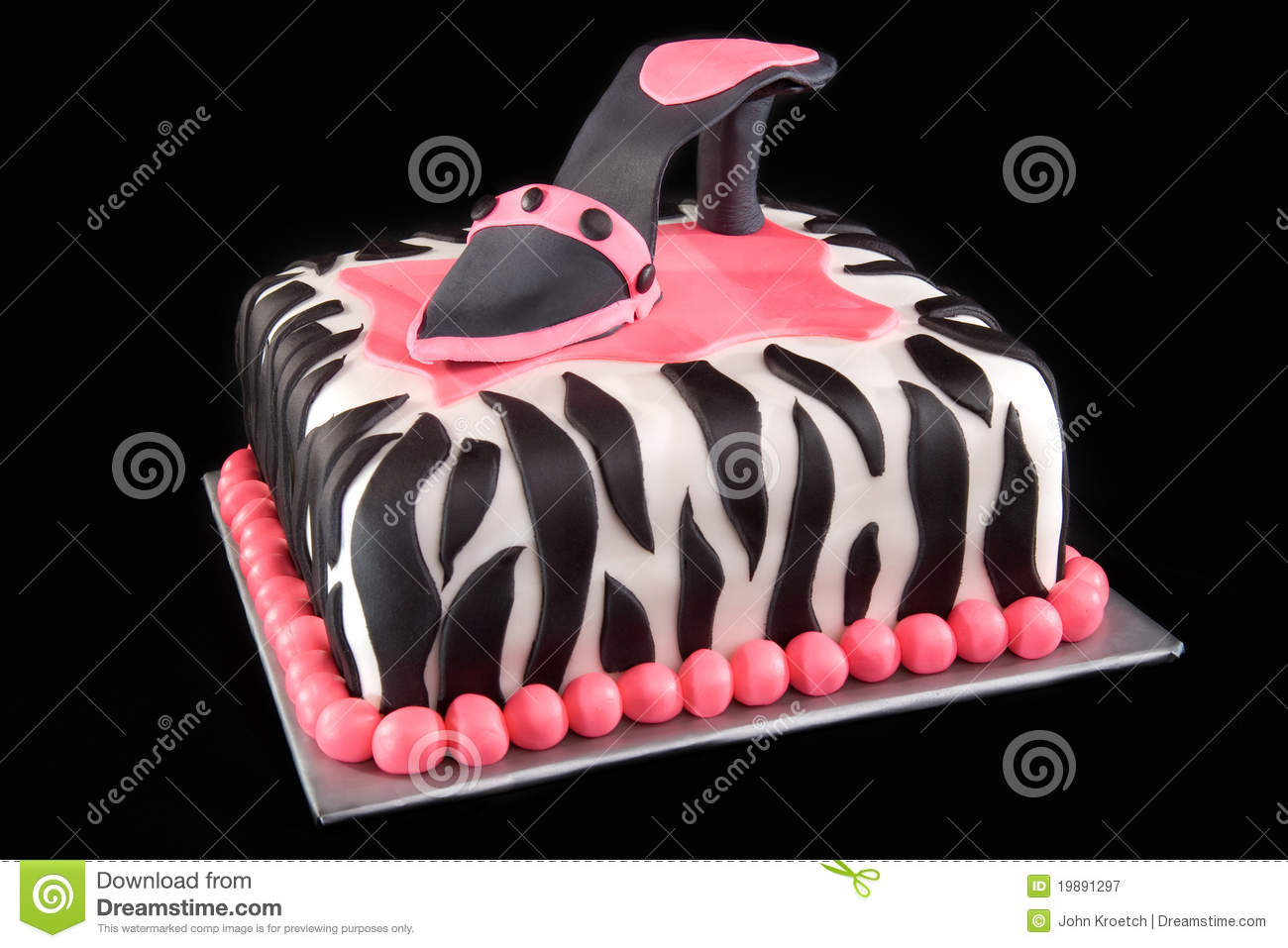 Enjoyable High Heel Shoe On Zebra Print Cake Stock Image Image Of Black Birthday Cards Printable Opercafe Filternl