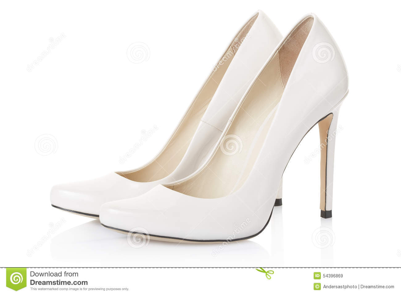 high heel white shoes pair stock photo image 54396869