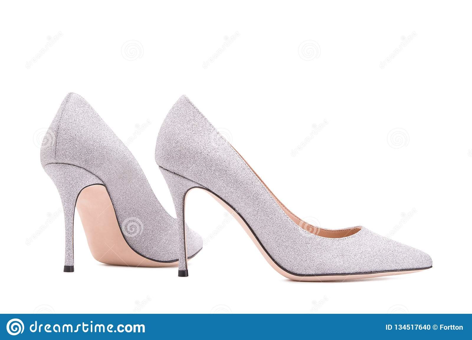 99006378636 Silver High-heeled Shoes. Female Shoes On A White Background Stock ...
