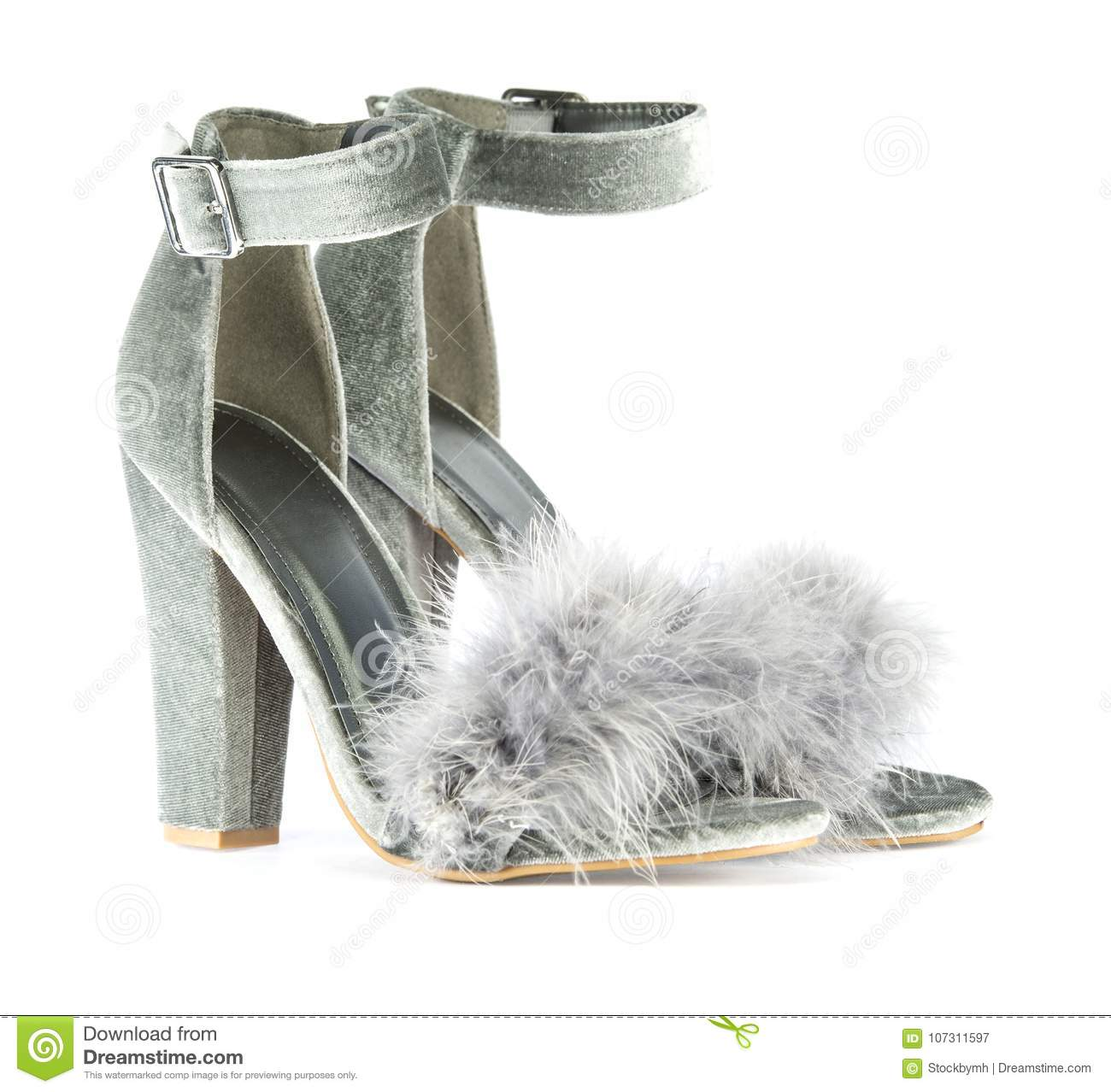 905896afe5a high heels shoes with ankle strap and fancy faux fake fur in gray suede