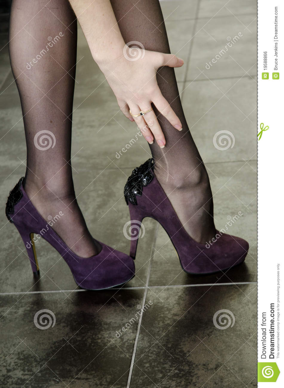 High Heels And Laddered Stockings Royalty Free Stock Image - Image