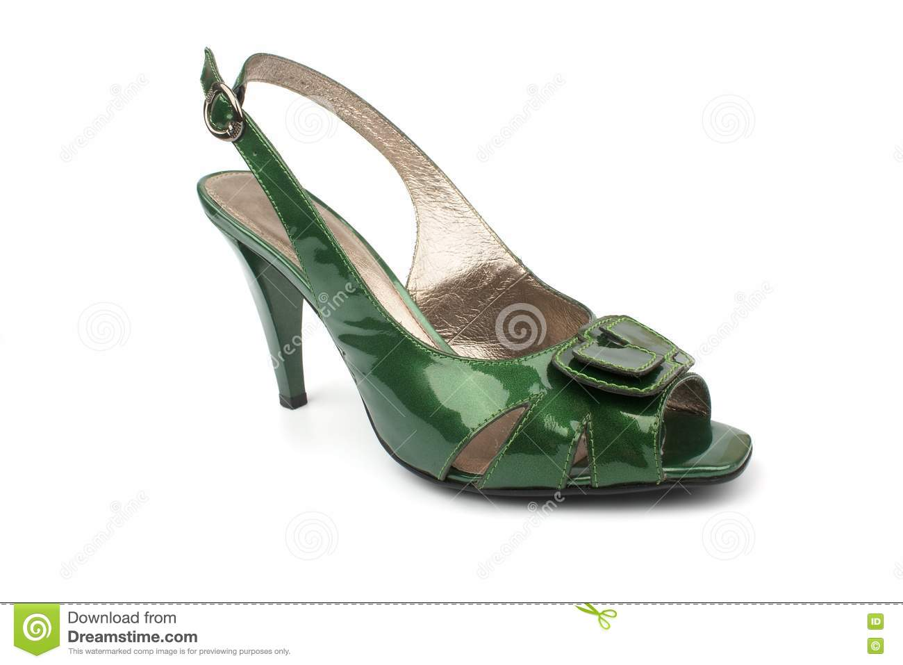 Green High Heels Shoe isolated on white background