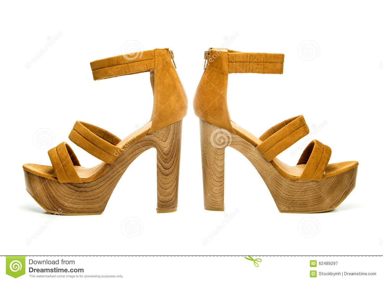 High Heels Shoes In Brown Suede And Wooden Sole Stock Image Glamour Red With Platform Wood Design
