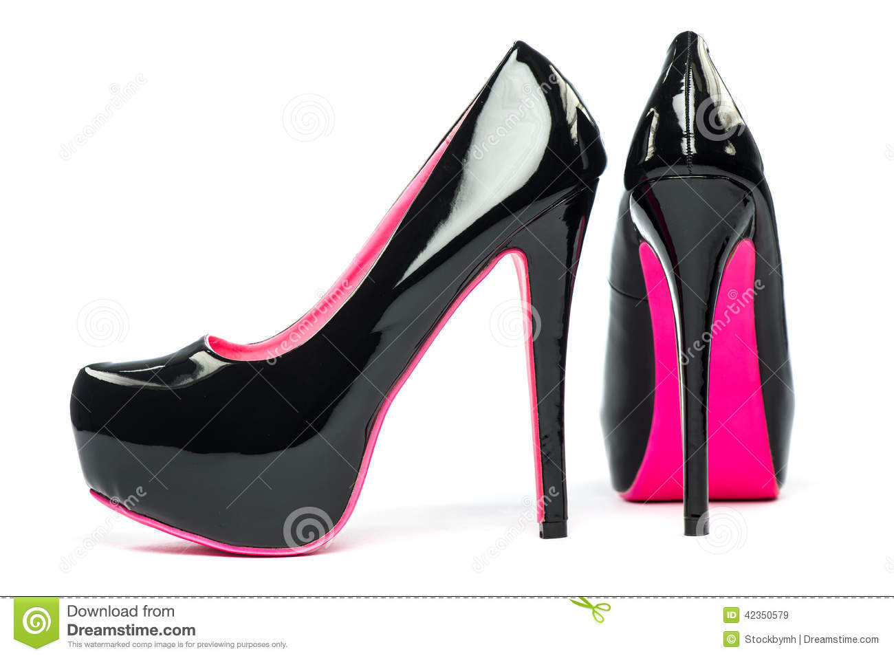 Black And Pink Heels Shoes