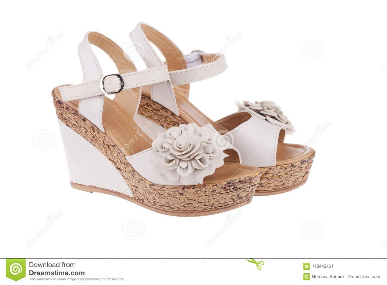 41132c8e20d High Heels Shoes In Nude Color With Flower Stock Image - Image of ...