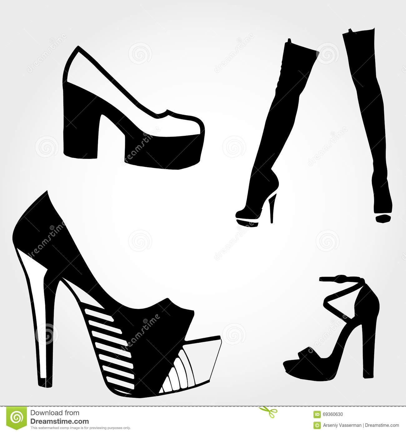 draw how to high heels boots