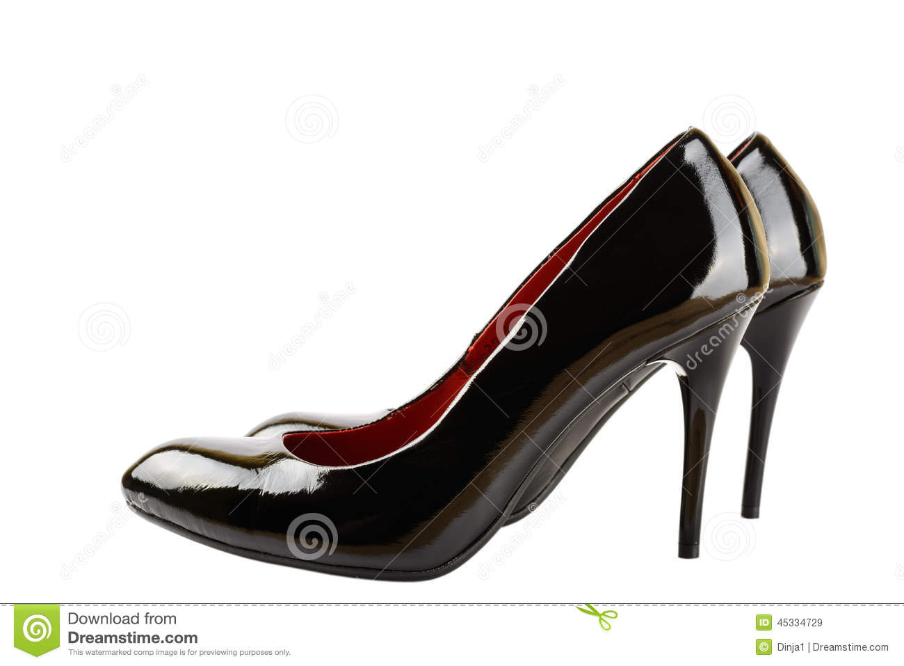 High Heels For Women, Black Patent Leather Stock Photo - Image ...