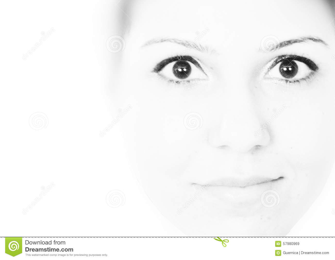 High key black and white portrait of a girl wearing eyeliner stock