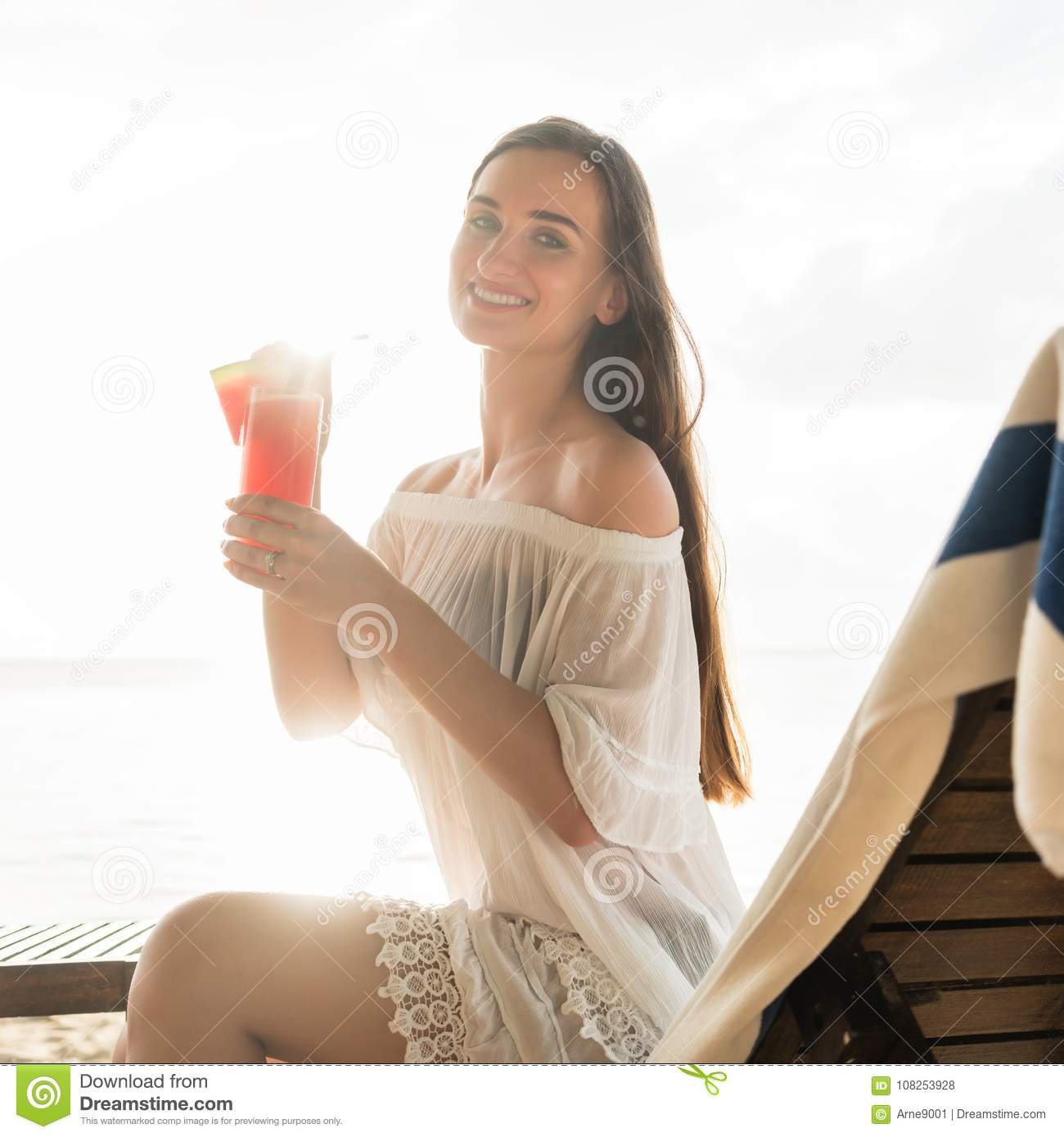 Woman Enjoying At Beach Stock Image Image Of Pleasure: Portrait Of A Beautiful Young Woman Smiling While Enjoying