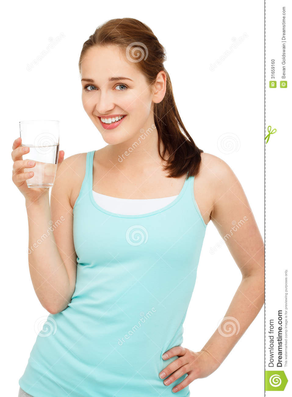 High key Portrait young caucasian woman drinking water isolat