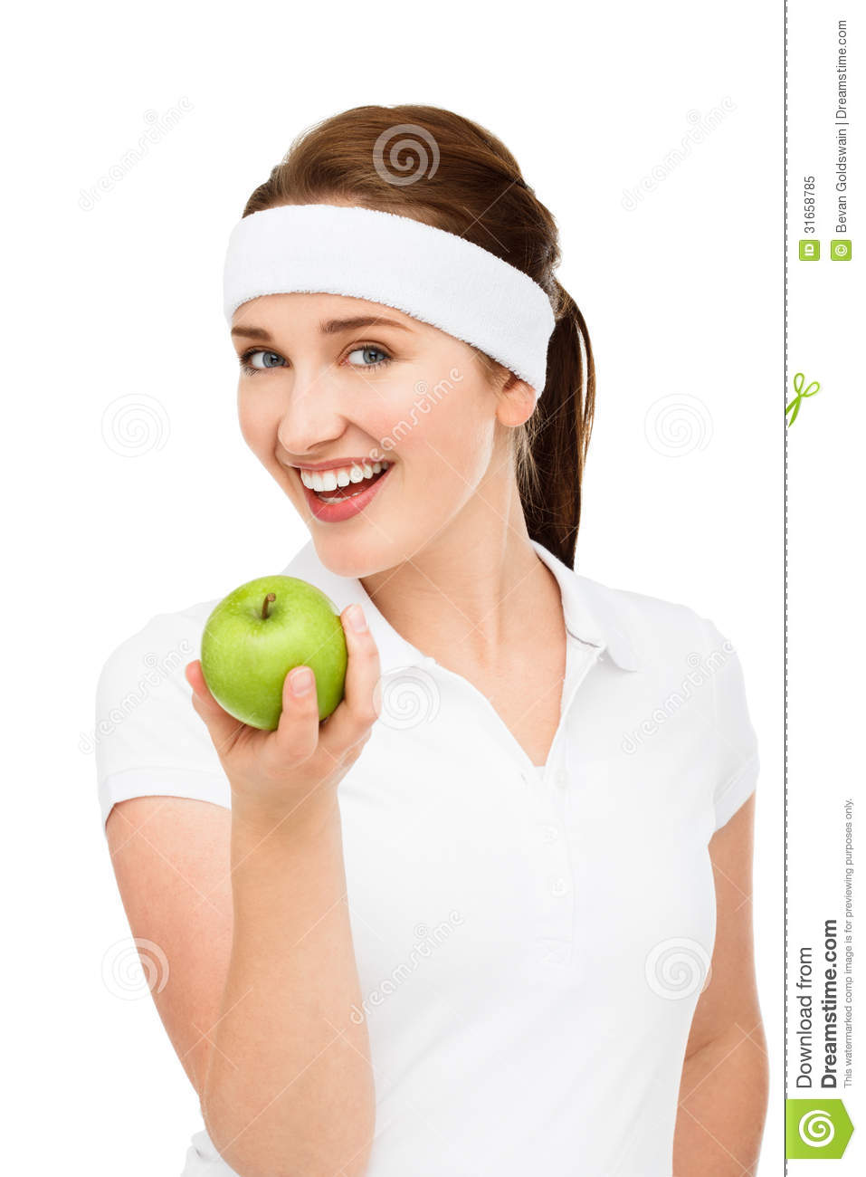 High key Portrait young woman holding green apple isolated on white background