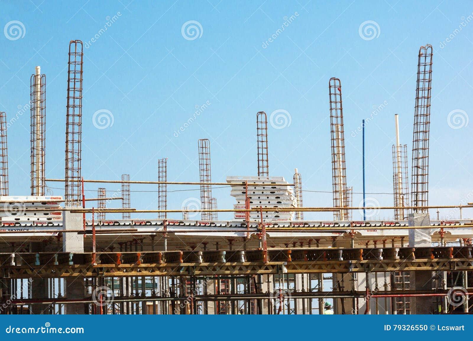 High lift Crane Woking on Construction Site
