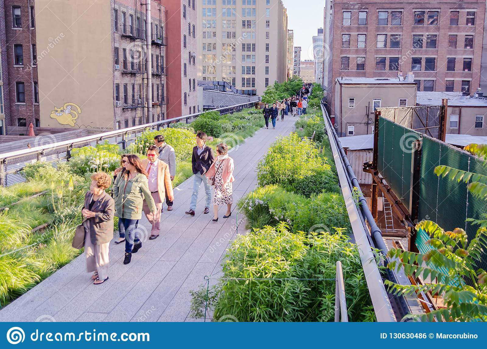 High Line Park In Midtown Manhattan New York City Usa Editorial Photo Image Of Flowers Rail 130630486