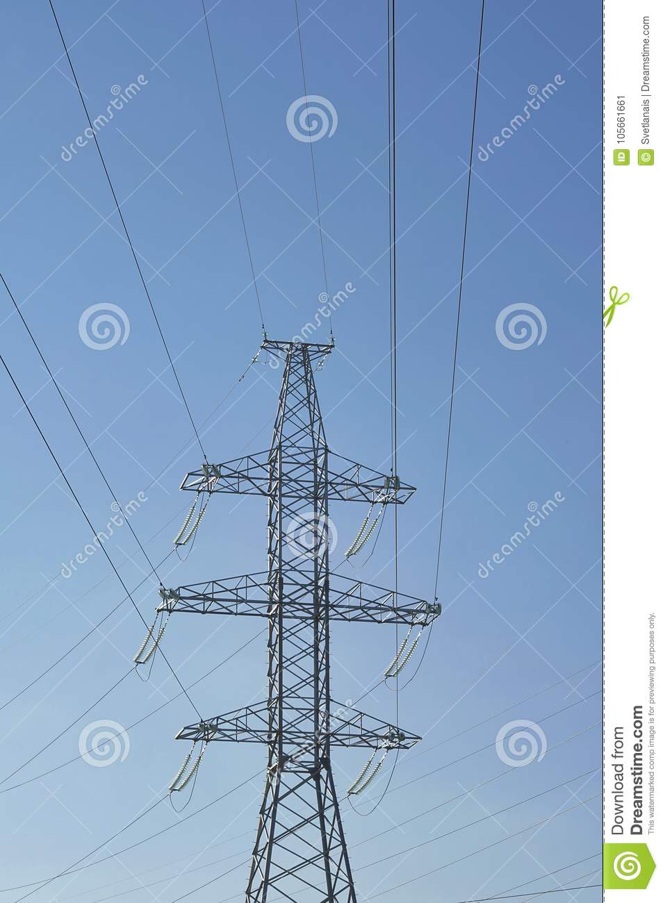 High metal tower. Power line with conductors, withstand surges due to switching lightning
