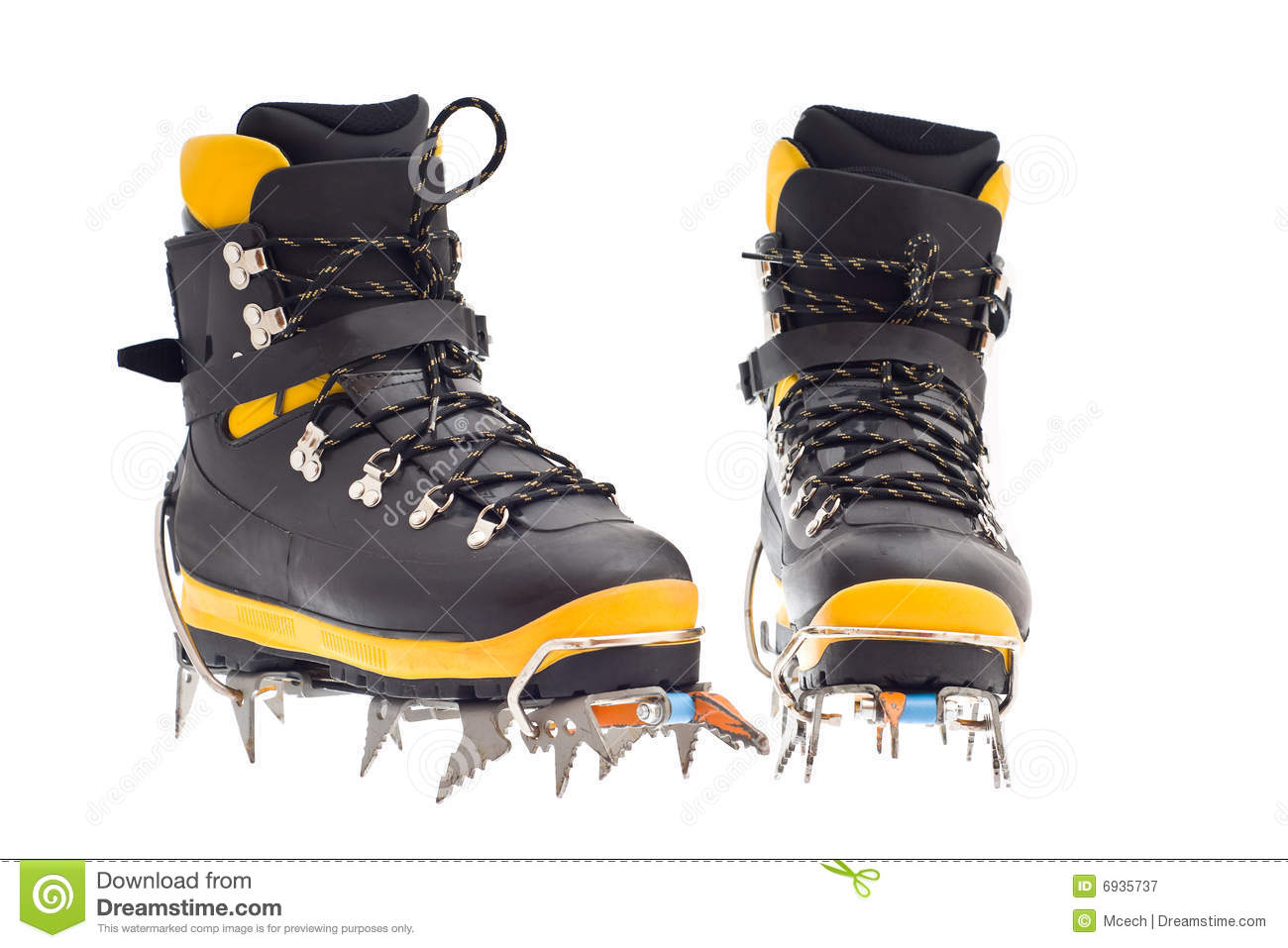 632cbd65f45 High Mountain Boots With Crampons Stock Image - Image of hiking ...