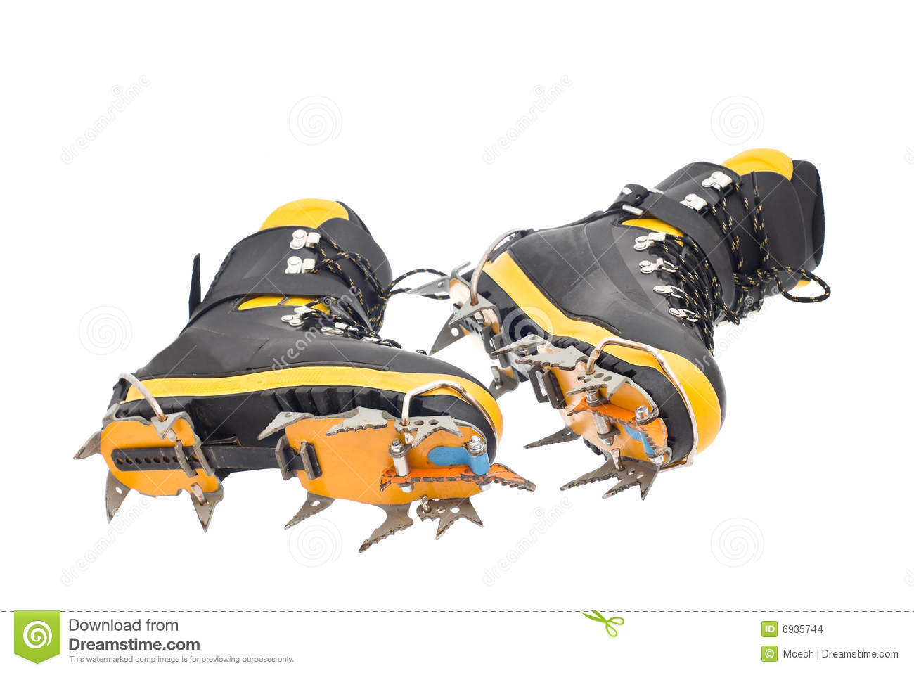 a308b0c842a High Mountain Boots With Crampons Stock Photo - Image of foot, tread ...