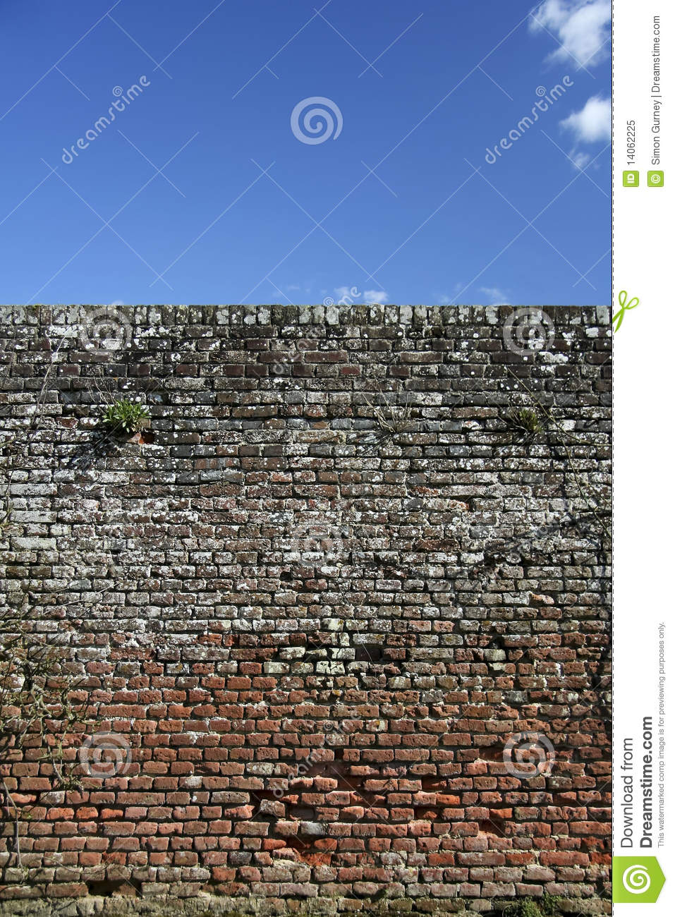 High Old Brick Wall Blue Sky Background Royalty Free Stock