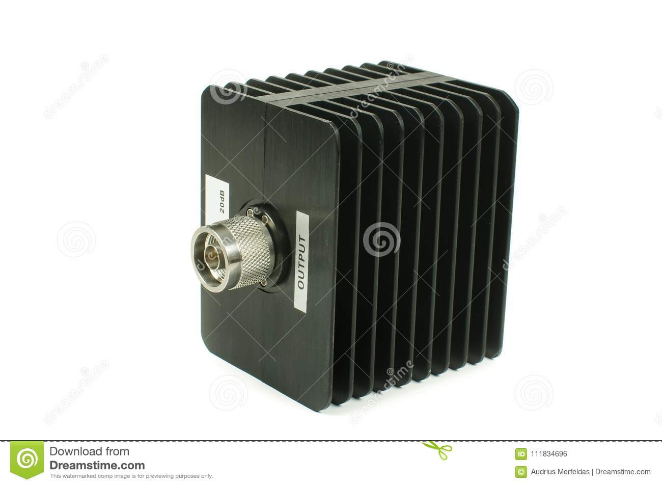 High Power RF Attenuator Isolated On The White Background Stock