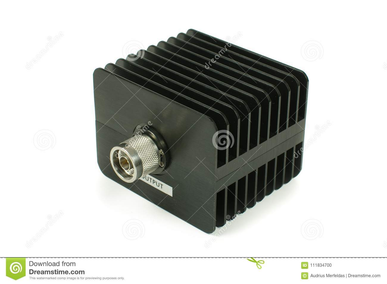 High Power RF Attenuator Isolated On The White Background