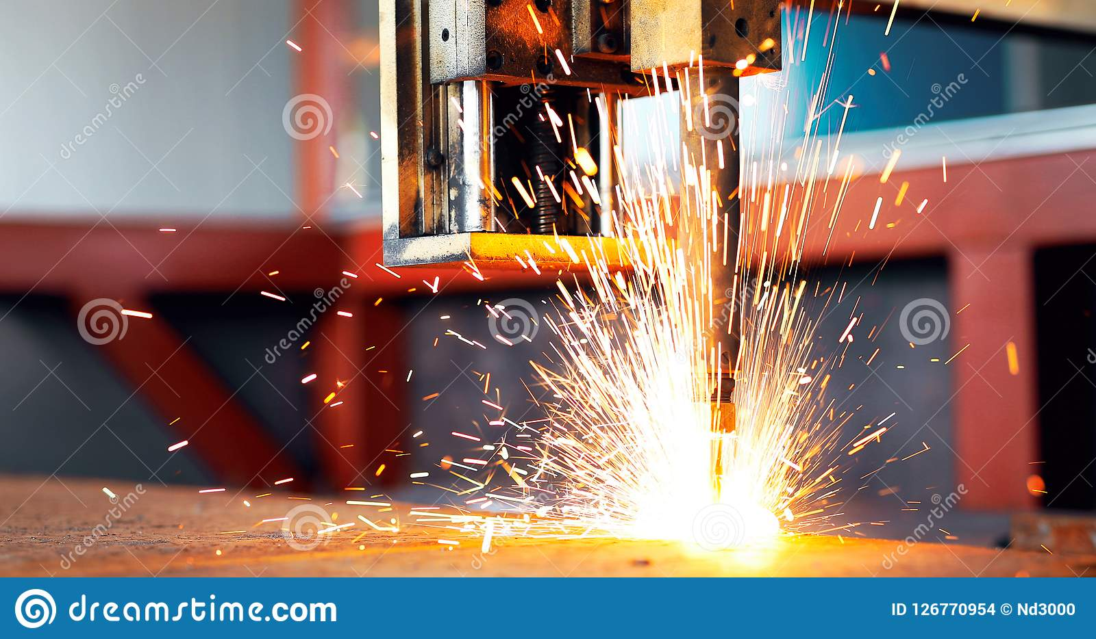 High precision CNC gas cutting metal sheet. In metal industry factory Stock Images
