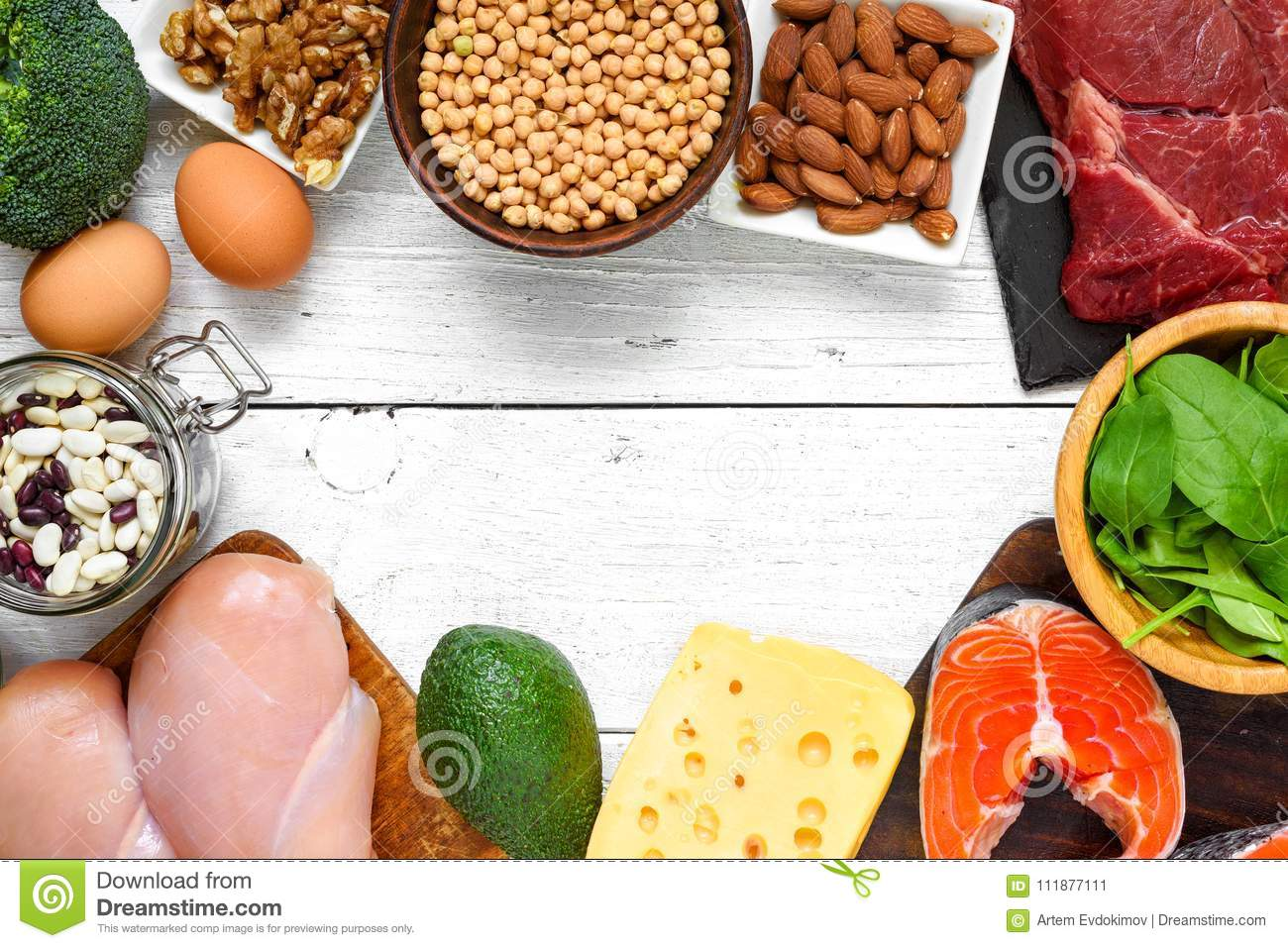High Protein Food Fish Meat Poultry Nuts Eggs And Vegetables On