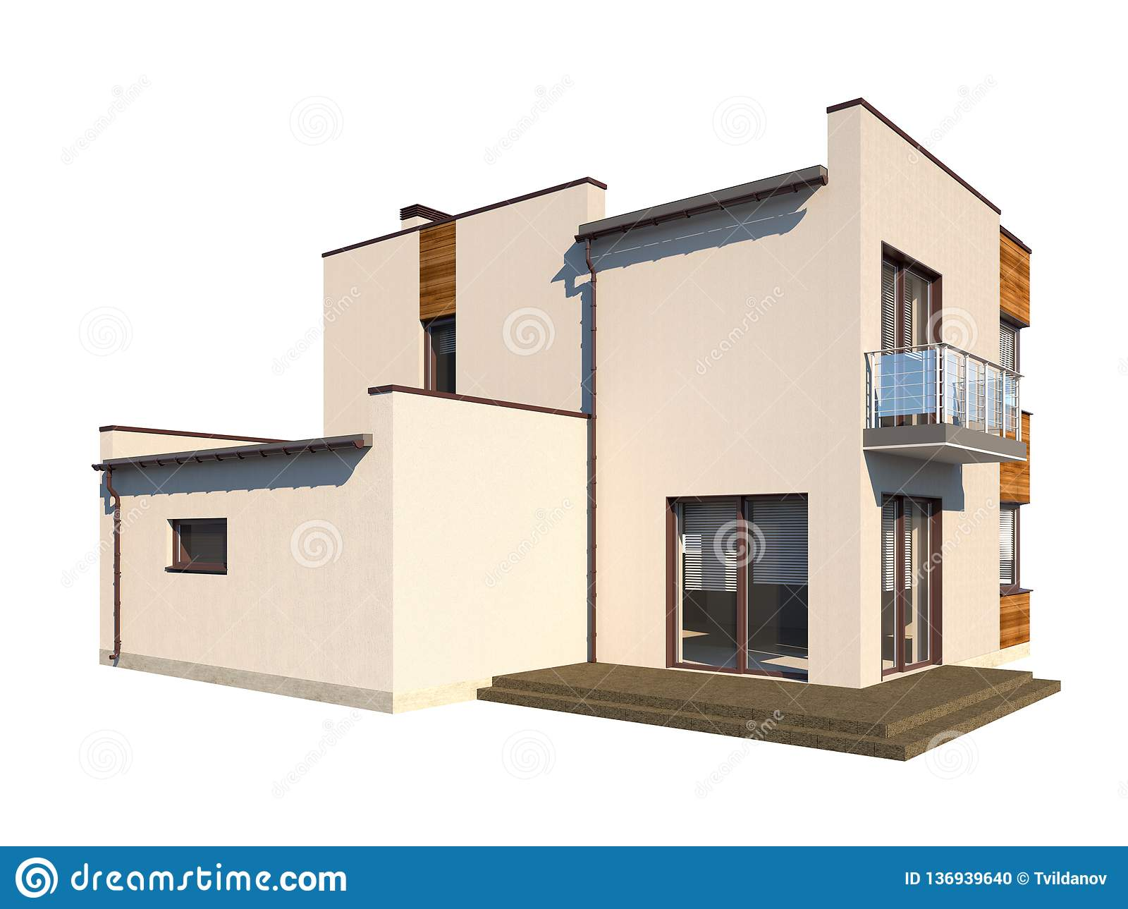 Modern Contemporary House With A Flat Roof Isolated On White Background Stock Illustration Illustration Of House Outside 136939640