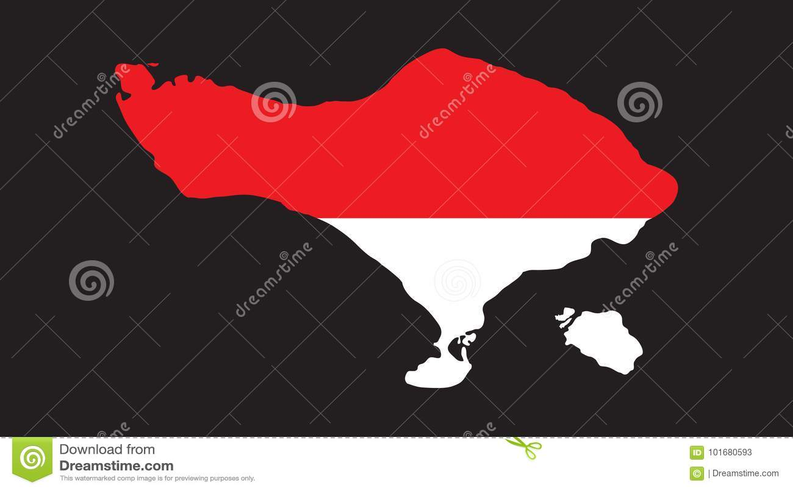 High Quality Bali Island Vector In Indonesian Flag Stock Vector