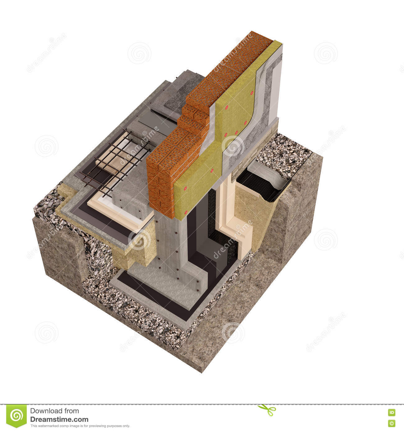 High Quality 3d Render Computer Image Of Foundations And