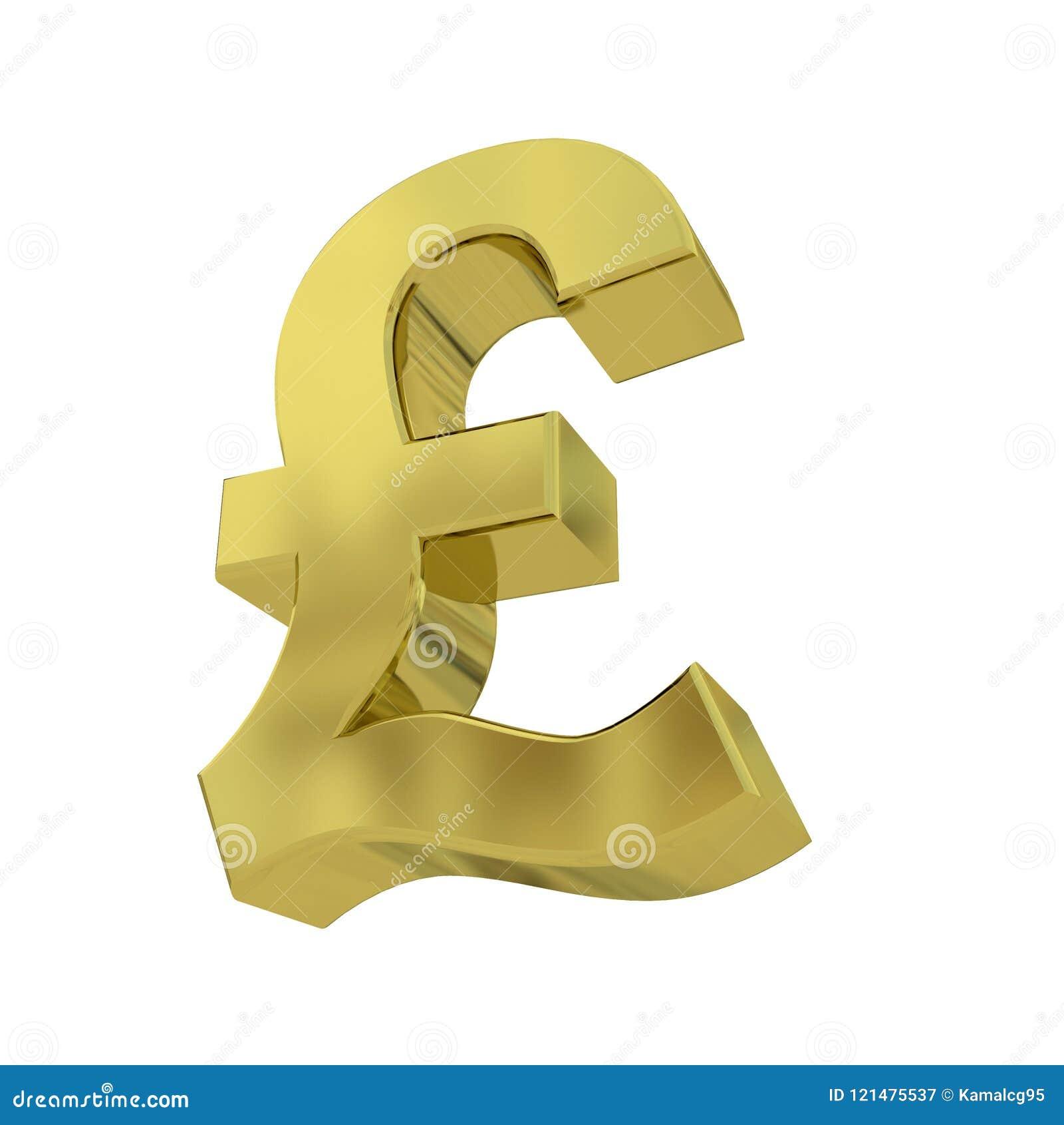 3d Golden Pound Symbol Isolated On White Stock Illustration