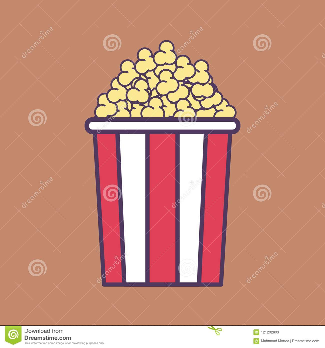A High Quality Flat Vector Illustration Of A Popcorn Bucket