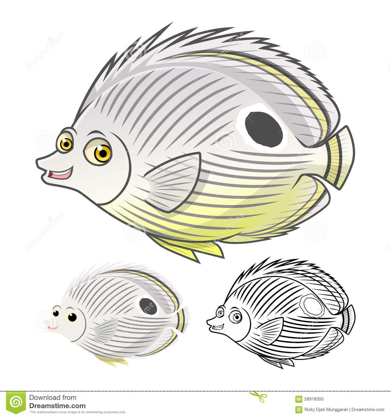 High Quality Four Eye Butterflyfish Cartoon Character Include Flat Design and Line Art Version