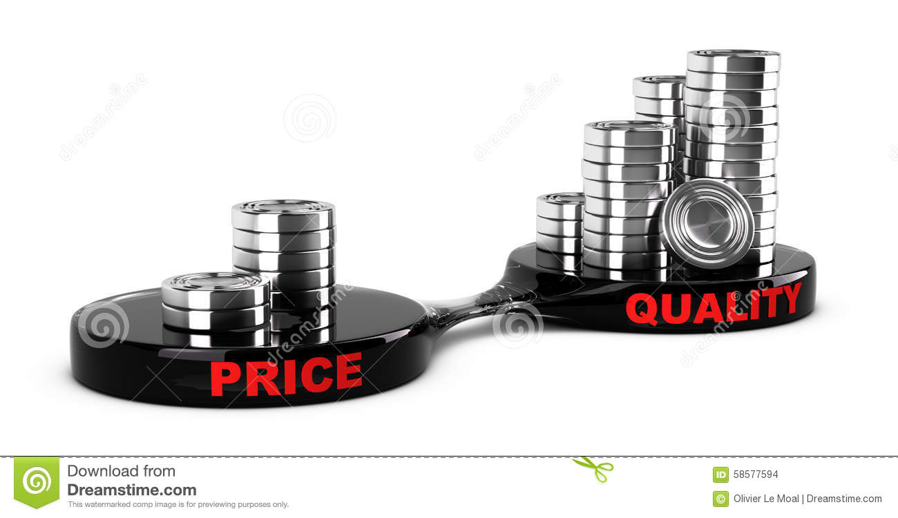 Price vs quality concept, abstract coins piles. Conceptual image for ...