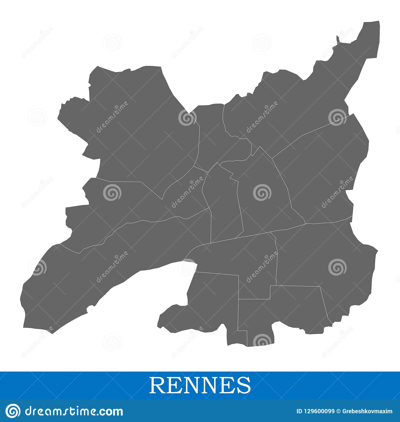 Rennes Map Of France.High Quality Map City Of France Stock Illustration Illustration Of