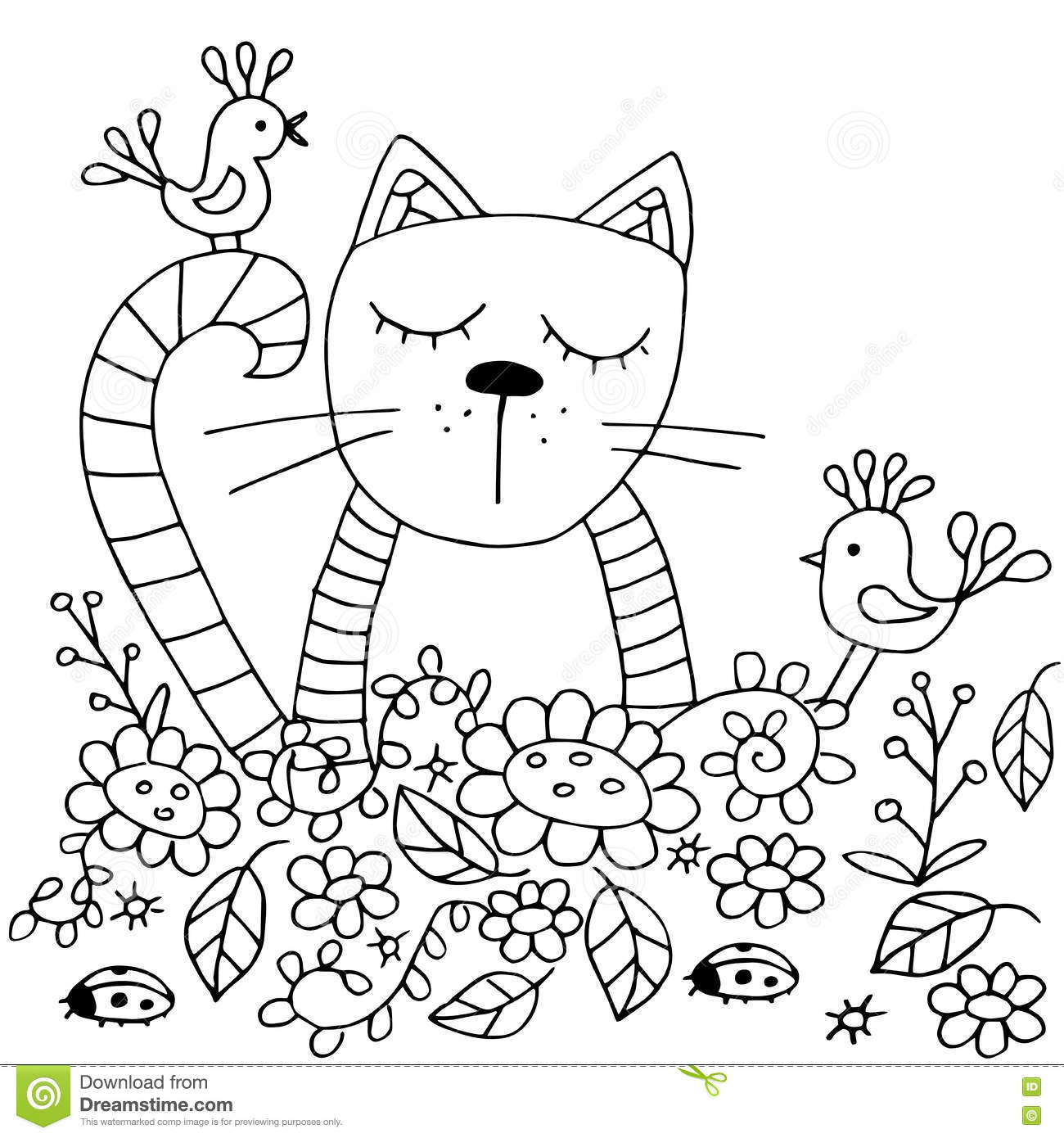 High Quality Original Coloring Pages For Adults And Kids. Stock ...