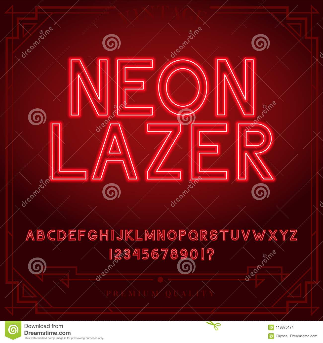 Bright Neon Alphabet Letters Numbers And Symbols Sign In Vector