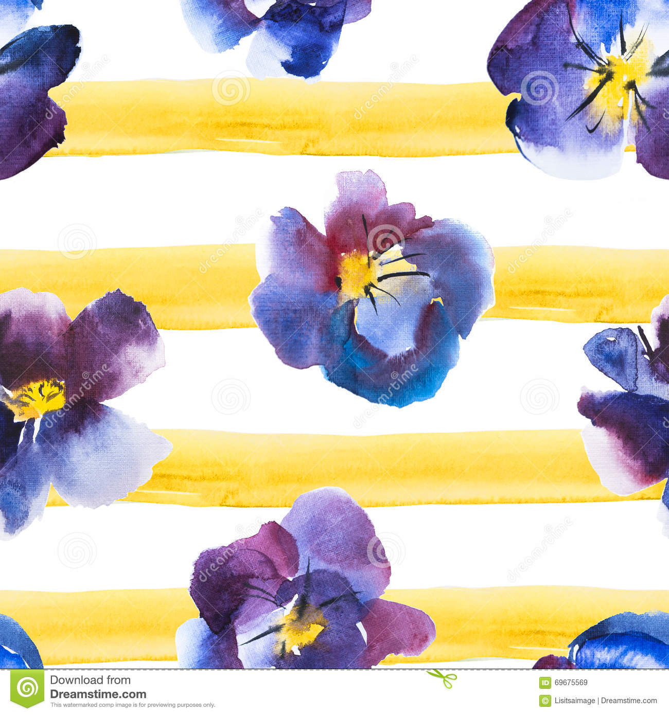 High quality watercolor seamless pattern violet and blue - High resolution watercolor flowers ...