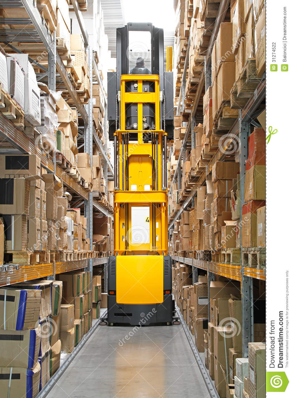 High Rack Stacker Forklift Stock Photo Image Of Cargo