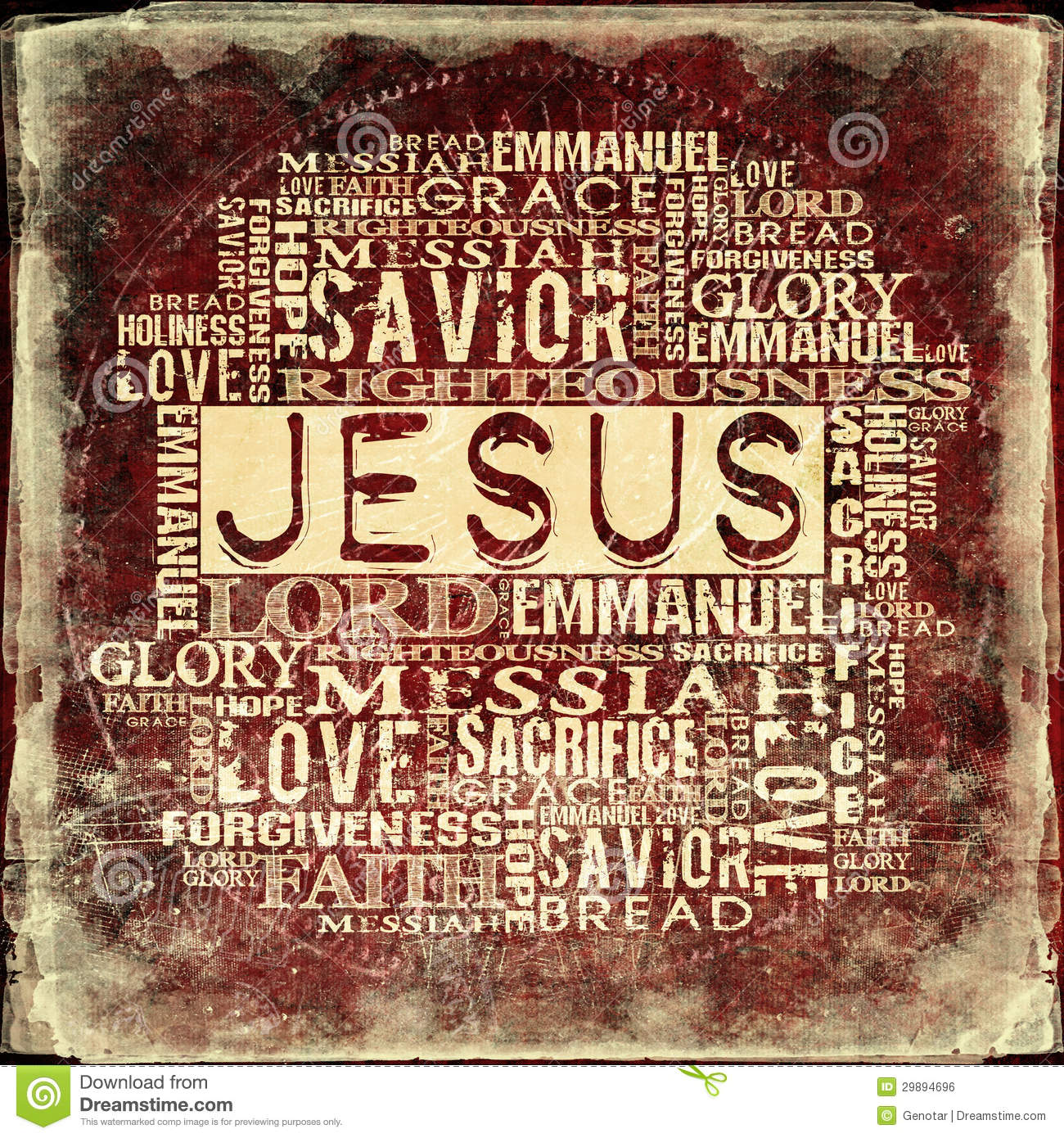 Jesus Religious Words On Grunge Background Stock Photo