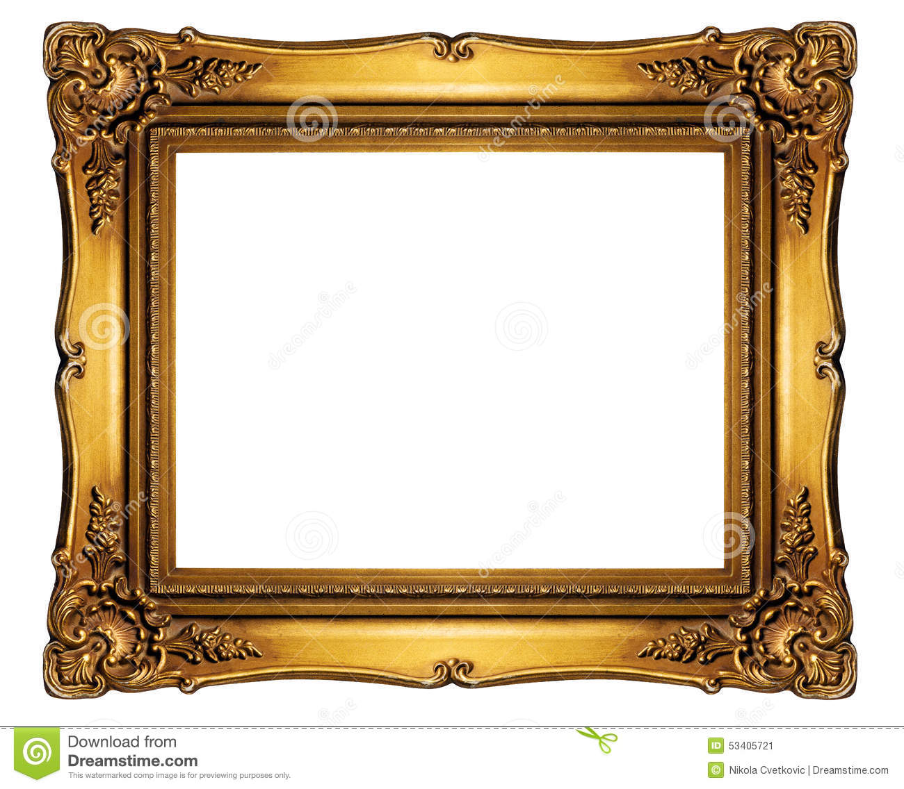 High Resolution Baroque Style Frame Cutout On White Isolated Wit ...