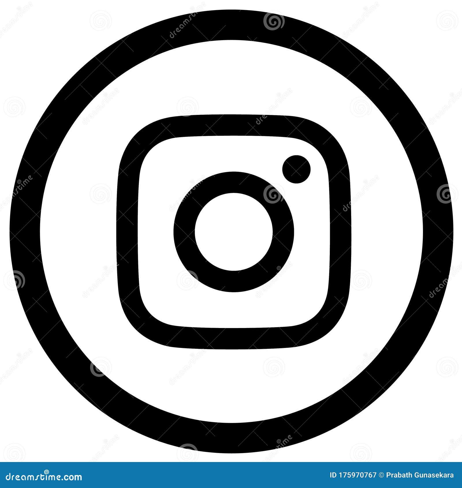 Rounded Black & White Instagram Logo Icon Editorial Photography ...