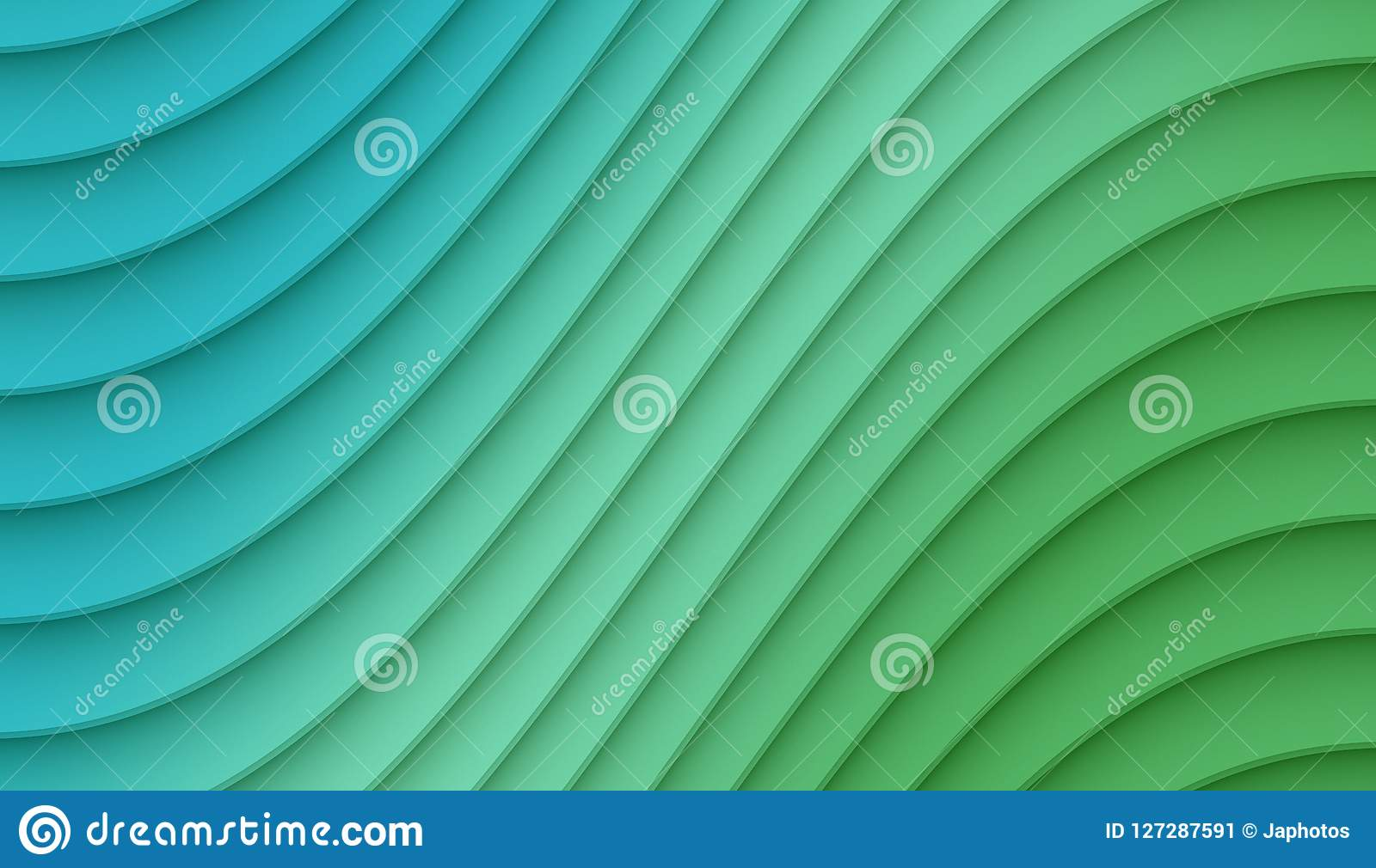 Fresh Blue And Green Smooth Diagonal Curved Lines Abstract