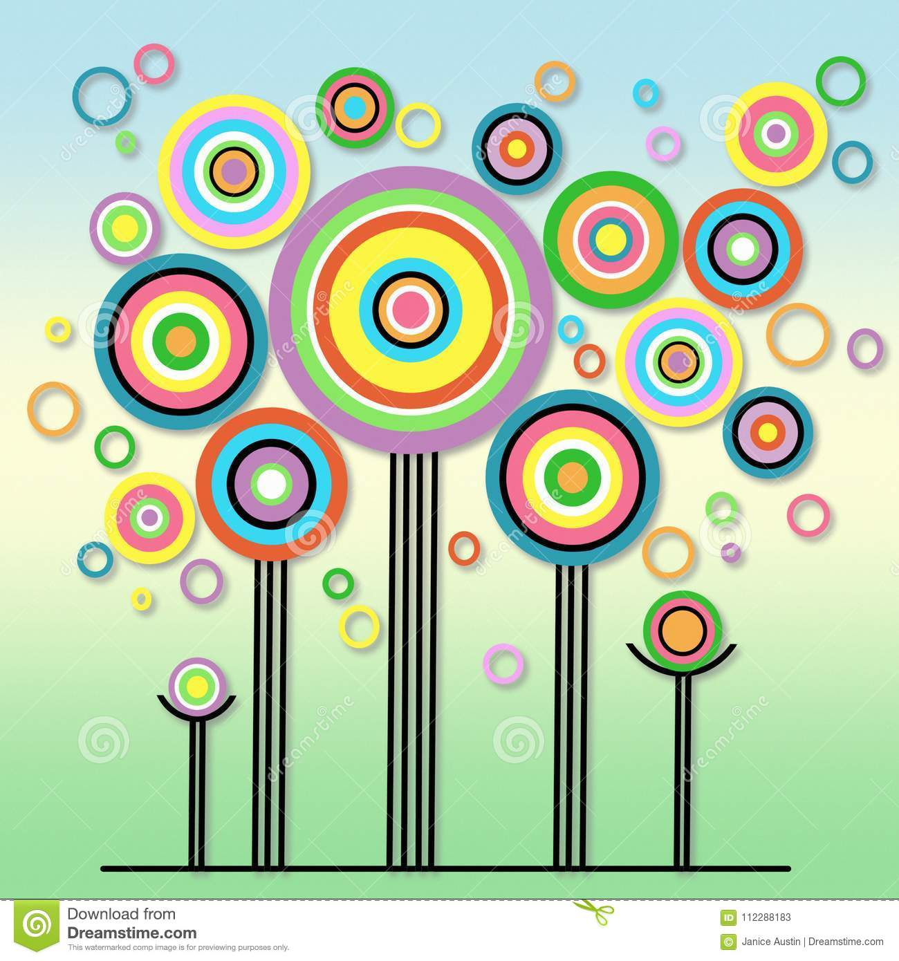 Bright And Playful Abstract Colorful Lollipop Circles Trees Fun ...
