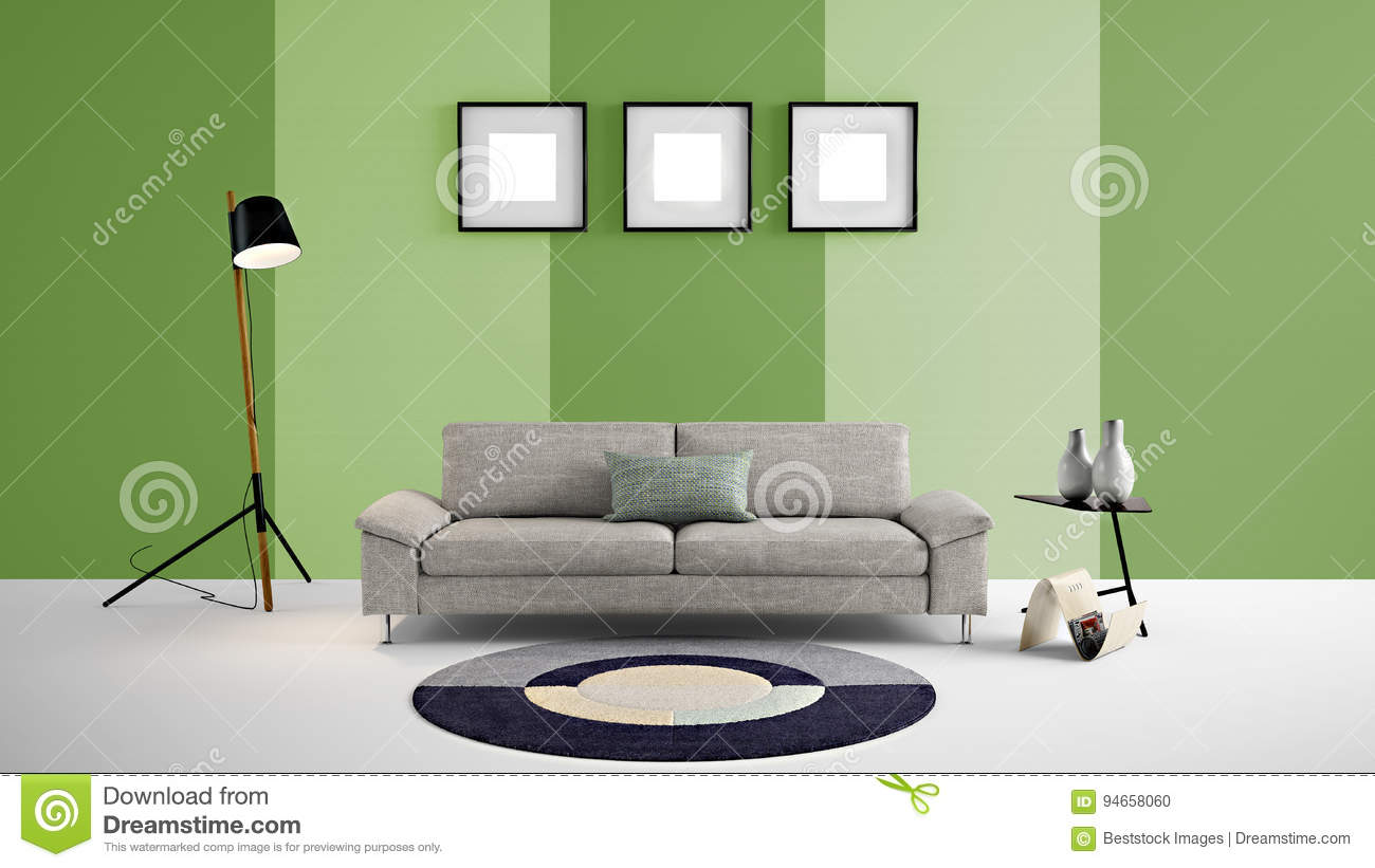 High Resolution 3d Illustration With Green And Light Green