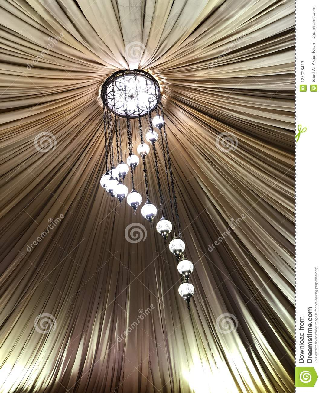 Decorated Tent With Bulb Garland Wedding Setup White Paper Lanterns Inside Of Building Under Cloth Roof Decoration Stock Image Image Of Decoration Inside 125036413