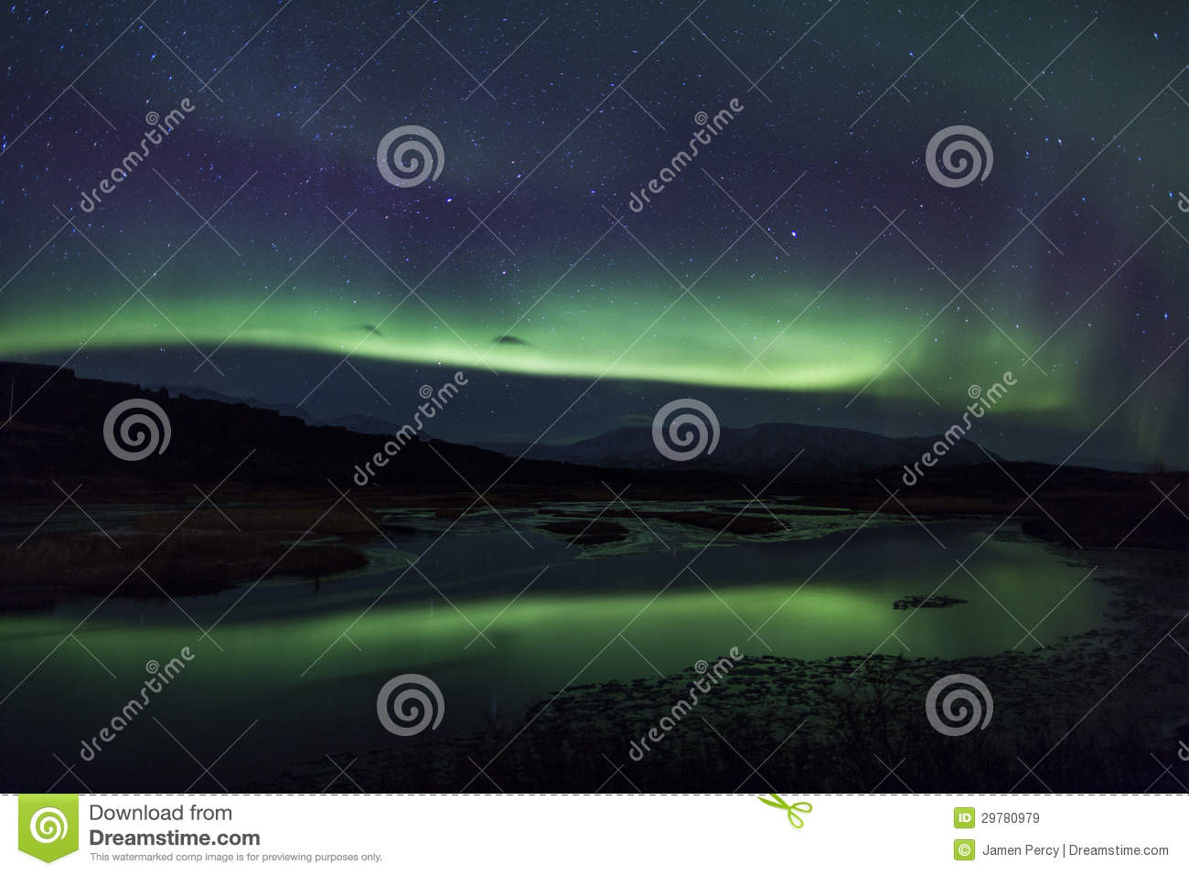 northern lights above a lagoon in iceland stock image image of