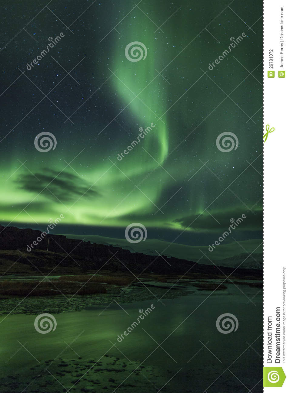 northern lights above a lagoon in iceland stock photo image of