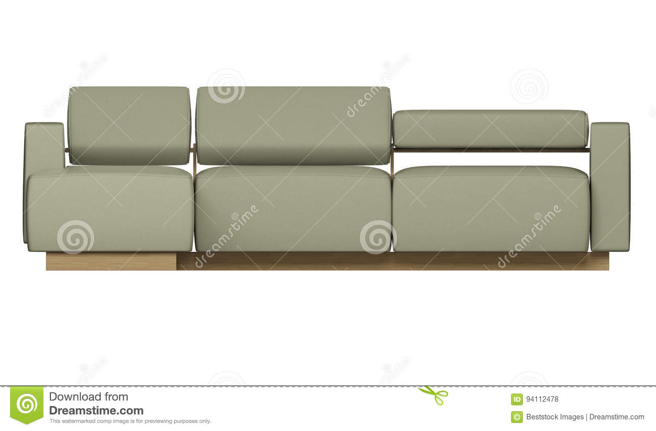 High Resolution L Shade Sofa Front View For Elevation Rendering