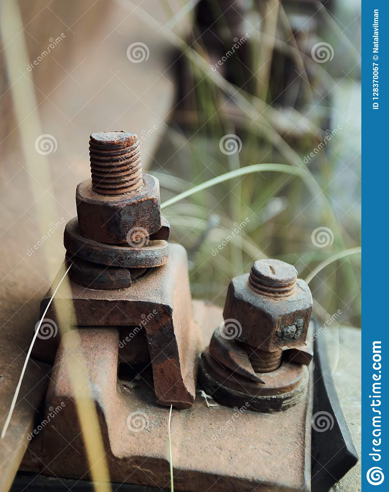 High Resolution Rusty Bolts And Screws On Abandoned Railroad